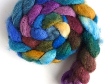 BFL Wool Roving - Hand Painted Spinning or Felting Fiber, Place to Play