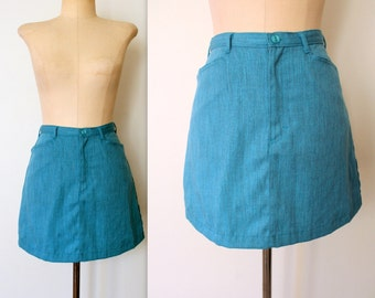 90s Mini Skirt / Sky Blue Mini Skirt / ESPRIT Chambray Skirt