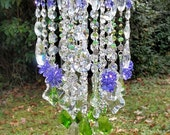 On Hold Antique Crystal Wind Chime, Violet and Green Crystal Wind Chime, Outdoor Decor, Indoor Decor, Bohemian Wind Chime