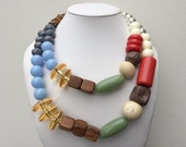 Necklace 2.3 - handmade one of a kind beaded asymmetrical statement necklace featuring vintage lucite wood and ceramic beads