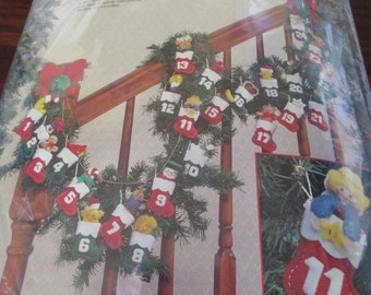 Felt Ornament Kit Bucilla Advent Garland Ornaments 83216 Complete and Ready to Stitch