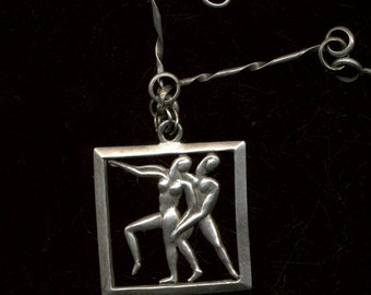 MARGOT de TAXCO Dancers Sterling Pendant with hand crafted Sterling Chain Necklace