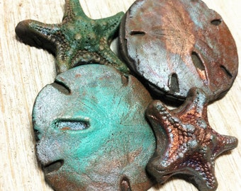 Wondrousstrange Four Raku  Sea star Sand Dollar  Inspired Cabochons Blue Silver Rust Gold Magenta The Urchins are Coming Collection