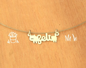Cat with name-Personalized Pet Necklace-Sterling Silver-Animal Cat Pendant