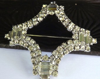 Vintage signed Weiss rhinestone brooch cross with crystal clear brilliant and baguette stones silver tone metal