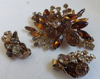 Vintage Beau Jewels topaz rhinestone brooch and earrings set fall jewelry lava stone 1950s costume jewelry