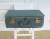 RESERVED....Vintage Blue Suitcase, Blue Luggage, Vintage Storage Case, Retro Suitcase
