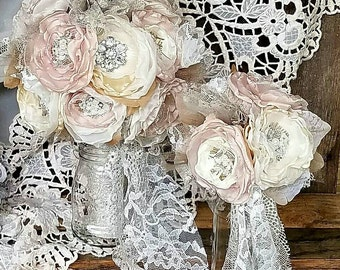 Bridal Brooch Bouquet & throw bouquet, Wedding Bouquet, Fabric Flower Bouquet, Burlap bouquet, Champagne, Taupe,Ivory, Shabby Chic Bouquet