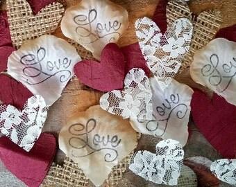 Burlap,Lace and burgundy  Hearts, Burlap wedding Confetti, Burlap Decor, Aisle rose petals, Wedding Rose Petals, Table Decor, table scatter