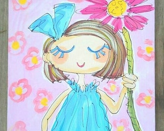 Pretty Little Girl Original Canvas Painting Ready to Ship
