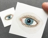 Blue Eyes, miniature, small watercolor paintings, set of two