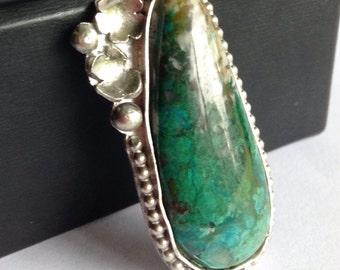 Custom Chrysocolla Statement Ring - Made to Order Ring - Custom Chrysocolla Necklace