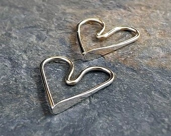 Solid Gold Heart Earrings Small 14k Gold Open Hoops, Tiny Romantic Gift for Her, women gift, wife girlfriend