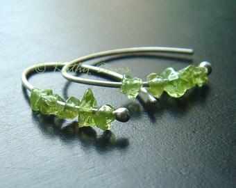 Silver Hoop Earrings Small Green Peridot Sterling Open Hoops Birthstone eco friendly minimal jewelry