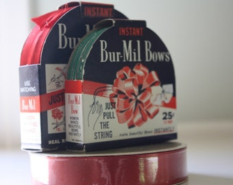 Set of Vintage Holiday Ribbon Bur Mil Bows and Greetings Inc.