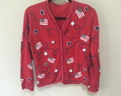 Patriotic Red Cardigan Sweater, American Flags Sweater, Button Down Vintage Cardigan, Americana Red White Blue Stars Stripes USA Sweater  S