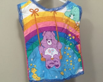 Care Bears Top, Vintage 80s Girls Handmade Care Bears Tank Top, Rainbow Tank Top 1980s Classic Care Bears 80s Cartoons Vintage Kids Girls 4