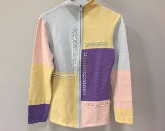 Colorblock Vintage Sweater, Zip Cardigan Sweater, Yellow Purple Color Blocking, Beaded Vintage Cardigan, Zip Up Sweater Jacket Vintage 80s S