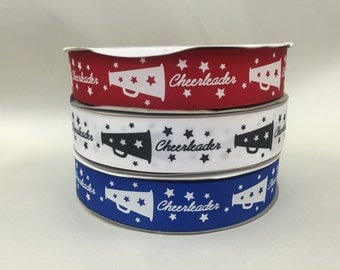 5 yards 1.5 inch Grosgrain-Red,White or Blue Cheer Ribbon-Your Choice