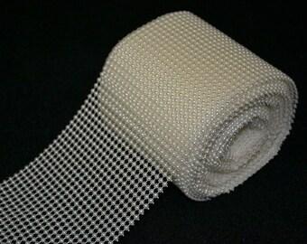 "4.25"" x 10 Yds Acrylic Pearl  Mesh Wrap roll"