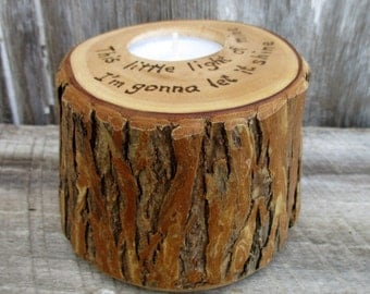 Willow Candle with  Wood Burned Rhyme