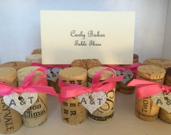Wine Cork Place Card Holders Silver Glitter Heart Your Color Ribbon & Initials Wedding Rehearsal Dinner  Favor