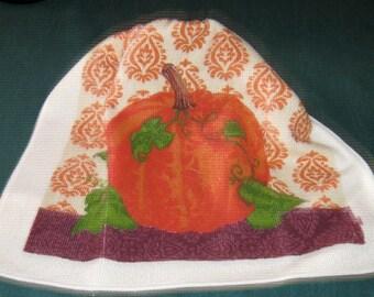 One Kitchen Crochet hanging towel Pumpkin Brown top