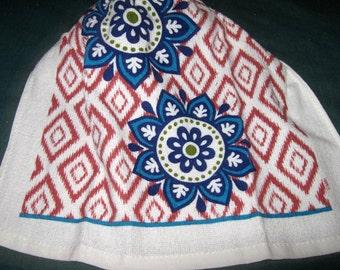 Crochet hanging towel, Two flowers, Mauve barckground, Navy crochet top