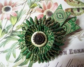 Green Ribbon Cocarde, Civil War, Ribbon Work Starburst Cockade, Brooch, 1800s, Millinery, Hat Adornment