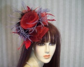Kentucky Derby Fascinator Hat, REd Black and Grey, Preakness, Mad Hatter Tea Party, Belmont Stakes Hat, Fascinator