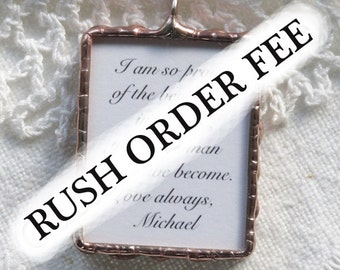 Upgrade charge for RUSH order on Photo Charms