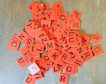 142 Orange and Black Double Sided Cardboard Letter Anagram Tiles Made of Card Board or Chip Board