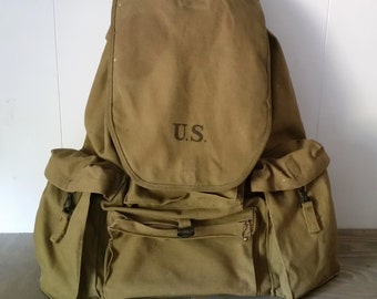 Vintage WW II Canvas Duck Rucksack Backpack with Steel Frame and Belly Belt, Stenciled Powers & Co. 1941