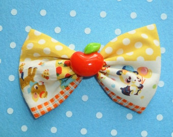 SALE Cute retro Vintage Style Story Book Animals Hair Bow Clip with Red Apple Detail