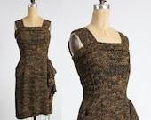 ON SALE 1950s SAKS Dress . Black and Gold Saks 5th Ave