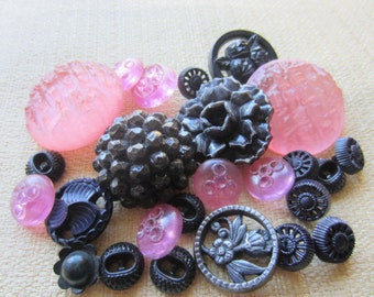 Vintage Buttons - Cottage chic mix of fancy black and pink lot of 26, old and sweet (feb 56b)