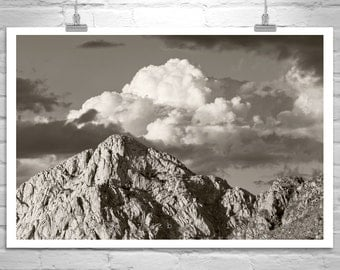 Desert Photography, Tucson Arizona, Black and White, Sky Art, Cloud Art, Sky and Clouds, Western Picture, Mountain Landscape, Sepia Deserts