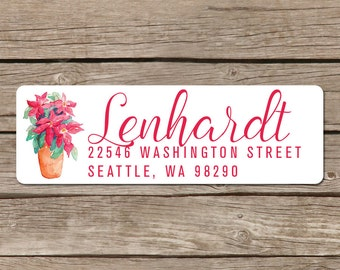 Poinsettia Return Address Label Stickers - Self Adhesive for Christmas