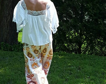 Winged Peasant Blouse Flutter Sleeve Peasant Blouse,  Hippie Blouse, Wing Sleeve, Shabby Chic, Tunic, Gypsy, Boho