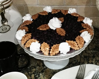 Fake Food ~ Limited Edition Artificial Blackberry Creme Pie ~ Display Pie ~ Home Staging Food  ~ Photography Prop Food ~ Bakery Display