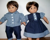 Bitty Twin Matching Outfits..Party Plaid....SALE....free shipping