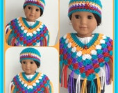 Doll Clothes Made for American Girl Josefina, Southwest Colors Poncho Set, Fits 18 Inch Doll