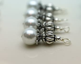 Classic White Pearl Wedding Bead and Silver Dangle Charm Pendant Drop Set