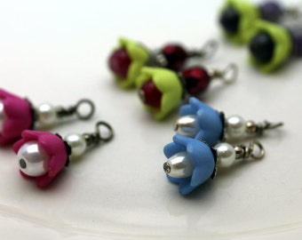 4 Pair of Baby Bell Lucite Flower Bead Dangle Charm Drop Sets In Fushia Pink, Blue and Pale Green