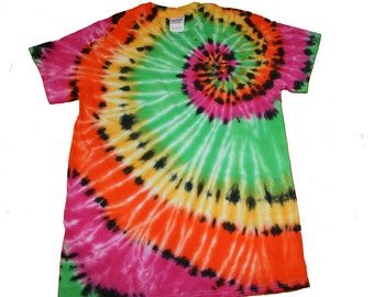 Tie Dye Shirt in a Hot Pink, Lime Green, Yellow and Orange Swirl with Black Tie Dye Accents- Size Adult S and READY TO SHIP
