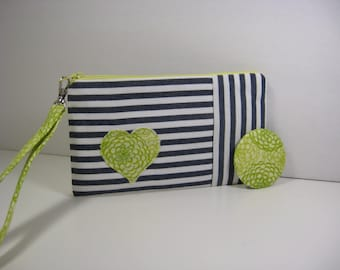 Wristlet, Cosmetic Bag, Bridesmaid Gift, Pocket Mirror
