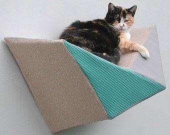Modern cat wall bed geometric shelf in aqua, pale grey and tan