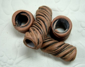 Ceramic Jewelry Components Four One of a Kind Handmade Textured Ceramic Tube Beads, Multiple Sizes Tan Stoneware with Terra Sigillata Finish