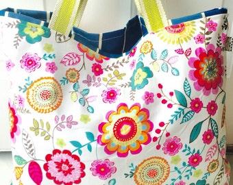 Floral tote, floral bag, summer tote, summer bag, diaper bag, diaper tote, bag, tote, large tote, monogrammed tote, monogrammed bag, summer