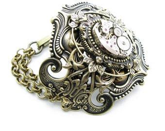 Steampunk Brass Large Ornate Floating Leaf Bracelet